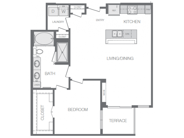 883 sq. ft. to 889 sq. ft. A6 floor plan