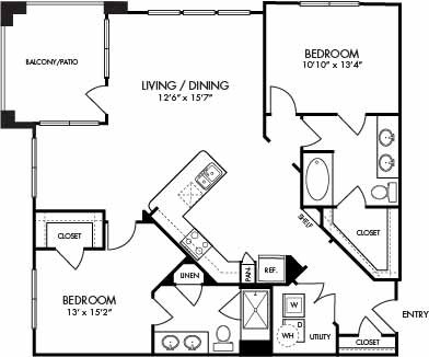 1,244 sq. ft. Key Largo floor plan
