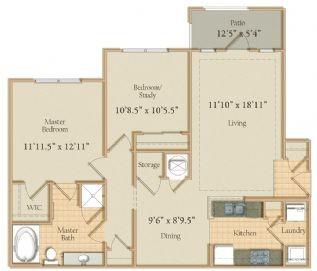1,082 sq. ft. floor plan