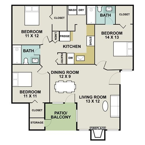 1,180 sq. ft. to 1,218 sq. ft. AB3 floor plan