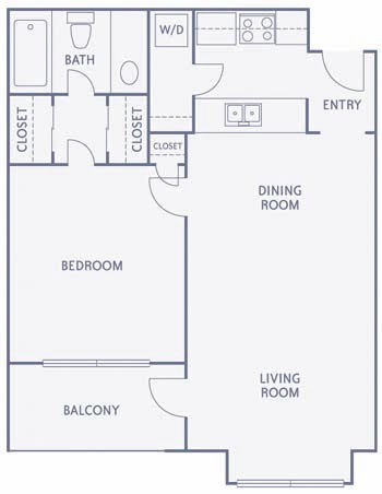 587 sq. ft. to 589 sq. ft. A3/A2B floor plan