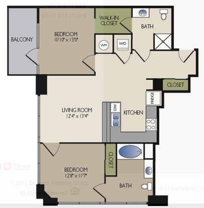 1,079 sq. ft. A1 floor plan
