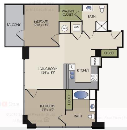 1,079 sq. ft. A1 floor plan
