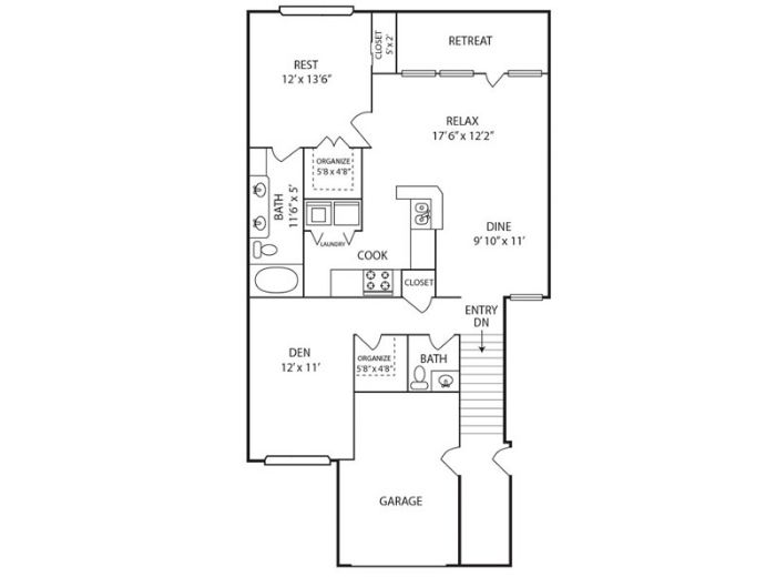 1,064 sq. ft. A1 floor plan