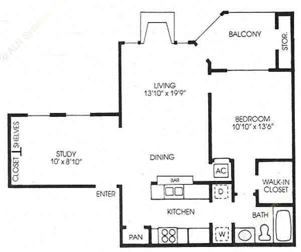 959 sq. ft. Oak - New floor plan