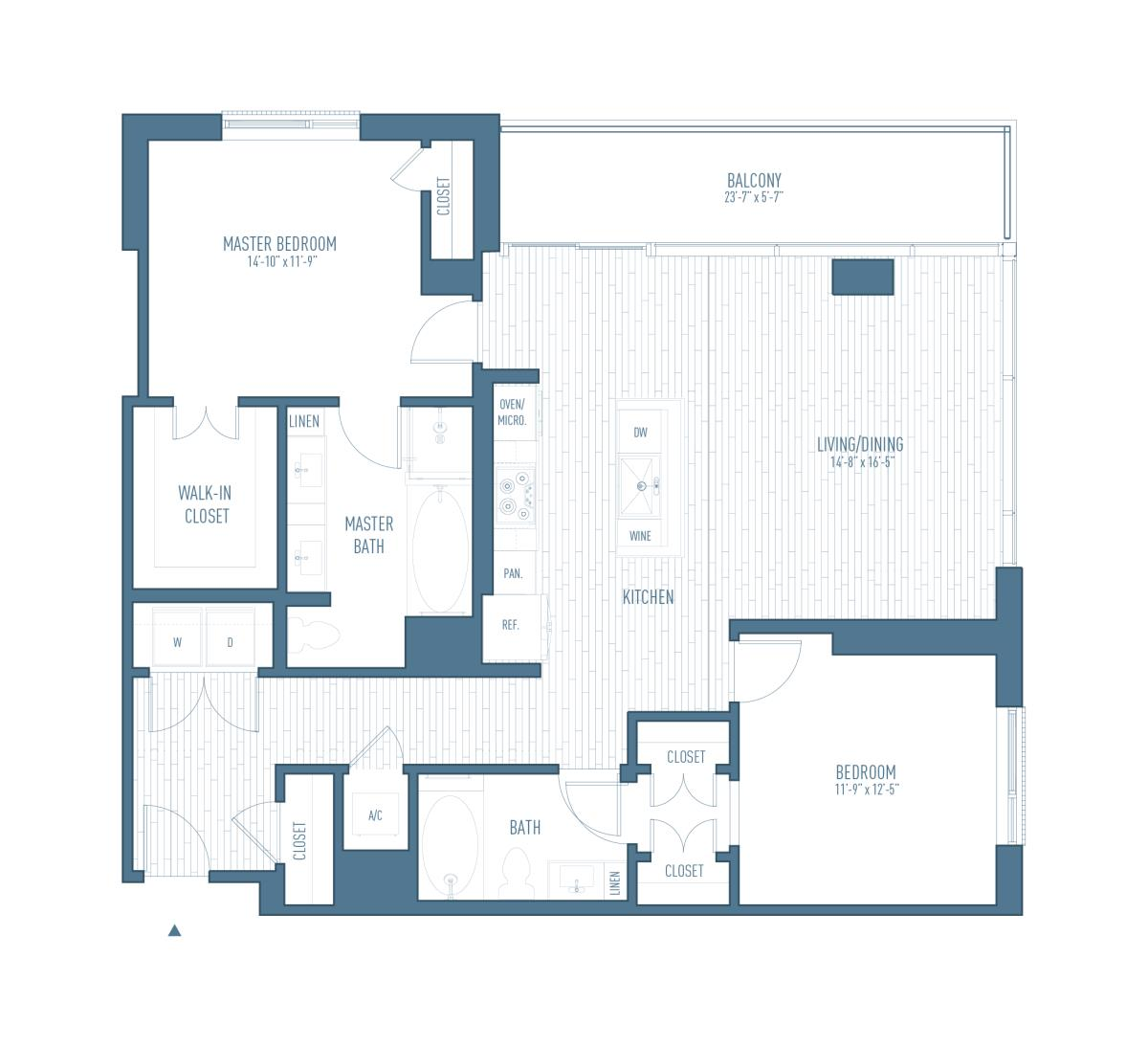 1,344 sq. ft. B7 floor plan