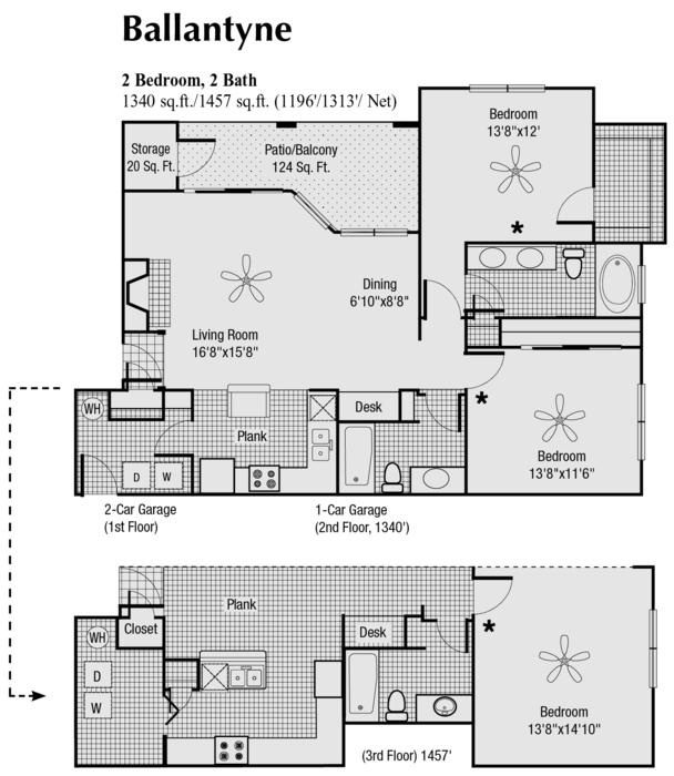 1,196 sq. ft. to 1,340 sq. ft. M floor plan