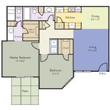 1,060 sq. ft. Carnation floor plan