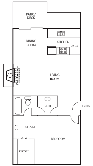 752 sq. ft. A1 floor plan