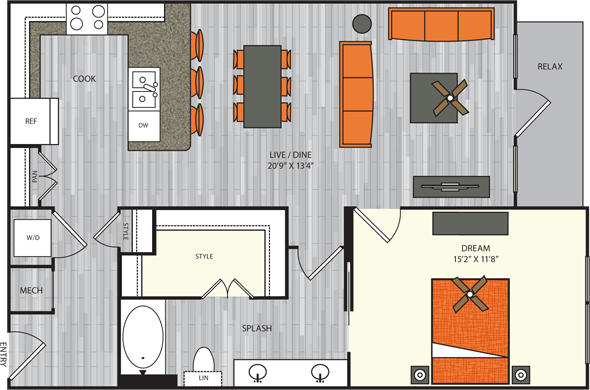 942 sq. ft. A7.1 floor plan