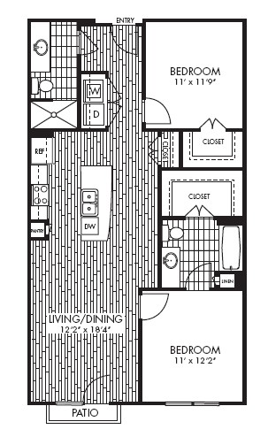 1,025 sq. ft. B1 floor plan
