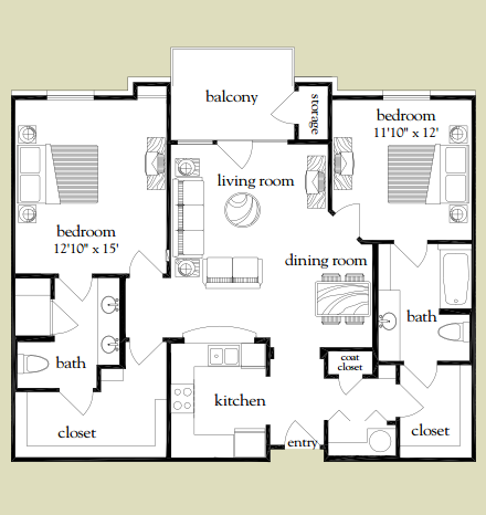 1,182 sq. ft. Rio Grande floor plan