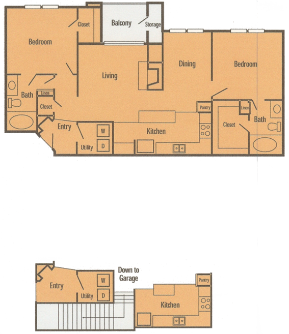 1,072 sq. ft. B3 floor plan