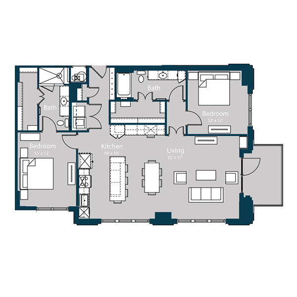 1,499 sq. ft. B7 floor plan