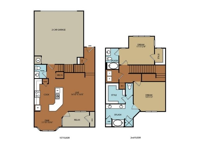 1,542 sq. ft. to 1,556 sq. ft. B3 floor plan
