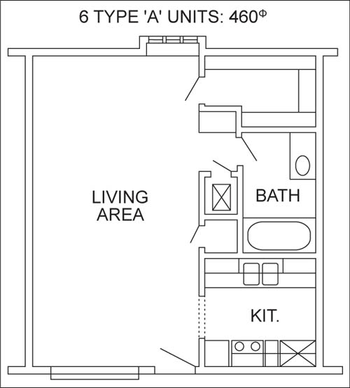460 sq. ft. floor plan
