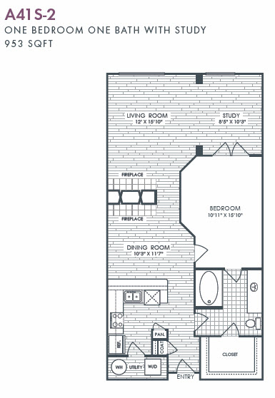 953 sq. ft. A41S-2 floor plan