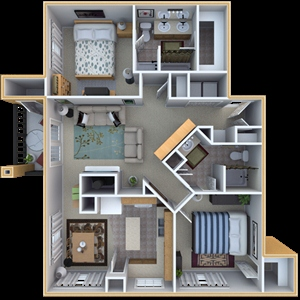 1,191 sq. ft. C3 floor plan