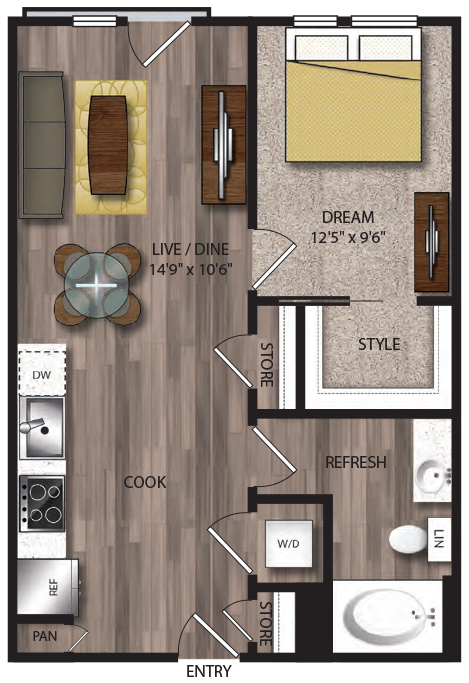 635 sq. ft. A7.3 floor plan