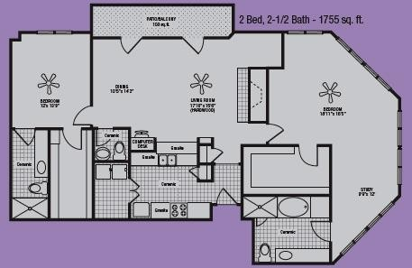 1,653 sq. ft. to 1,755 sq. ft. O floor plan