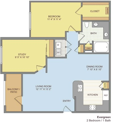900 sq. ft. Evergreen floor plan