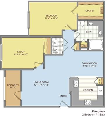 900 sq. ft. Evergreen floor plan