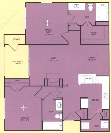 992 sq. ft. B floor plan