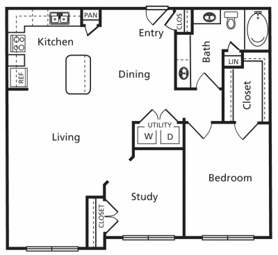 1,060 sq. ft. C2a floor plan