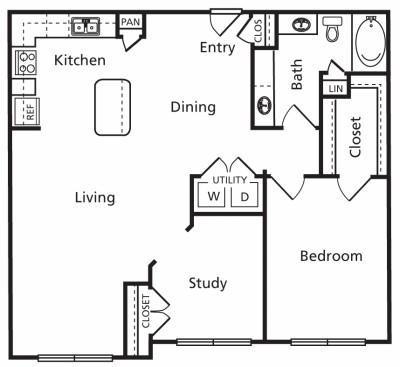 1,060 sq. ft. C2a floor plan