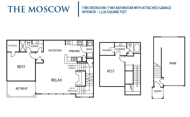 1,228 sq. ft. Moscow floor plan
