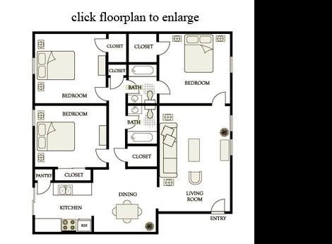 1,290 sq. ft. D1 floor plan