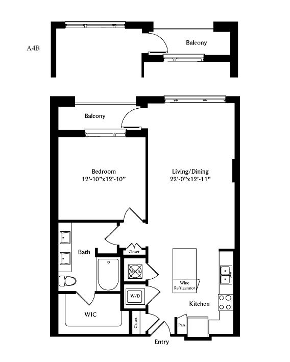 870 sq. ft. A4B floor plan