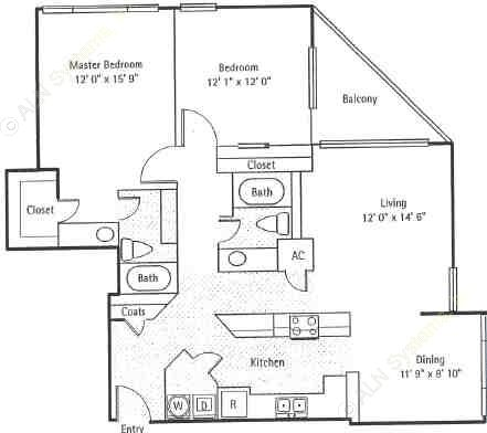 1,221 sq. ft. Astoria floor plan