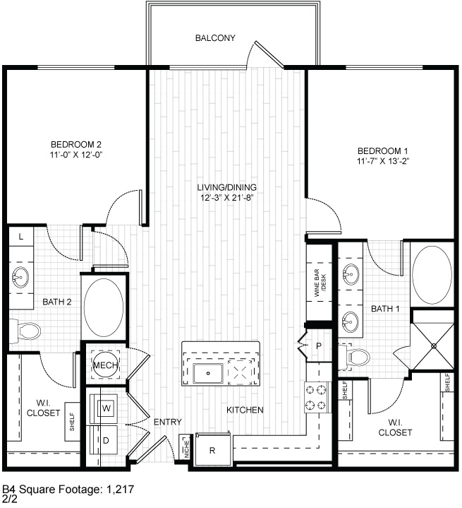 1,217 sq. ft. B4 floor plan