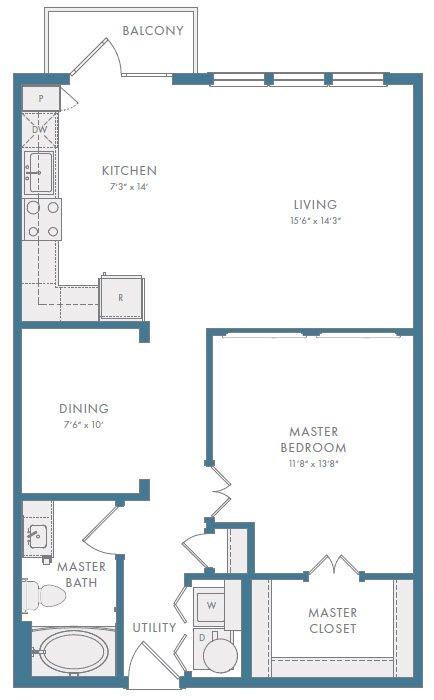 860 sq. ft. A3R floor plan