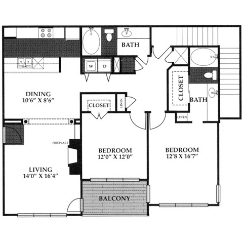 1,240 sq. ft. B2G floor plan