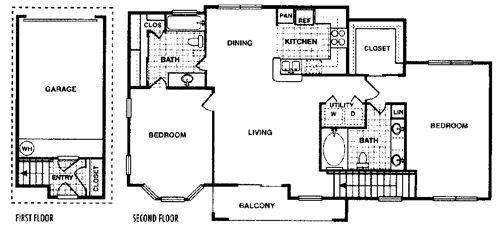 1,187 sq. ft. Sycamore E floor plan