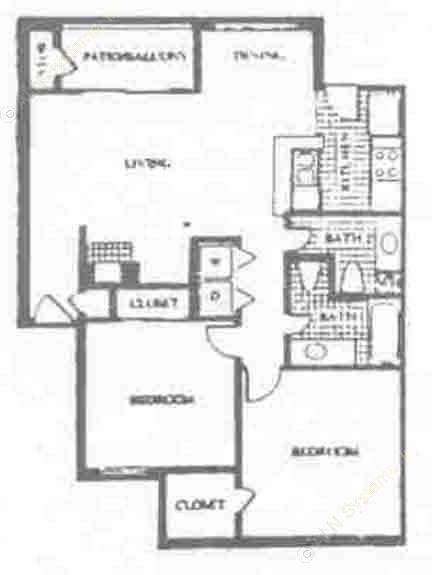 860 sq. ft. C floor plan
