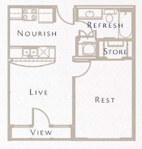 507 sq. ft. A2 floor plan