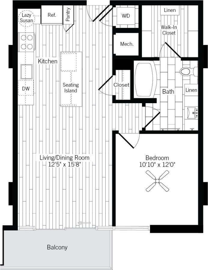 755 sq. ft. 1C floor plan