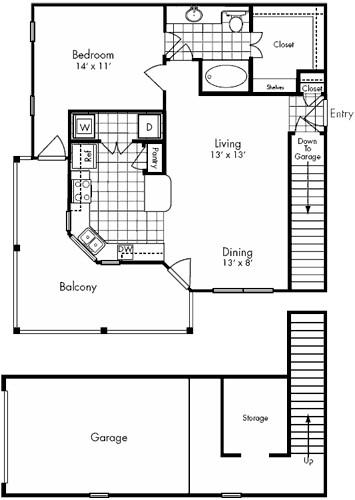 845 sq. ft. Richmond floor plan