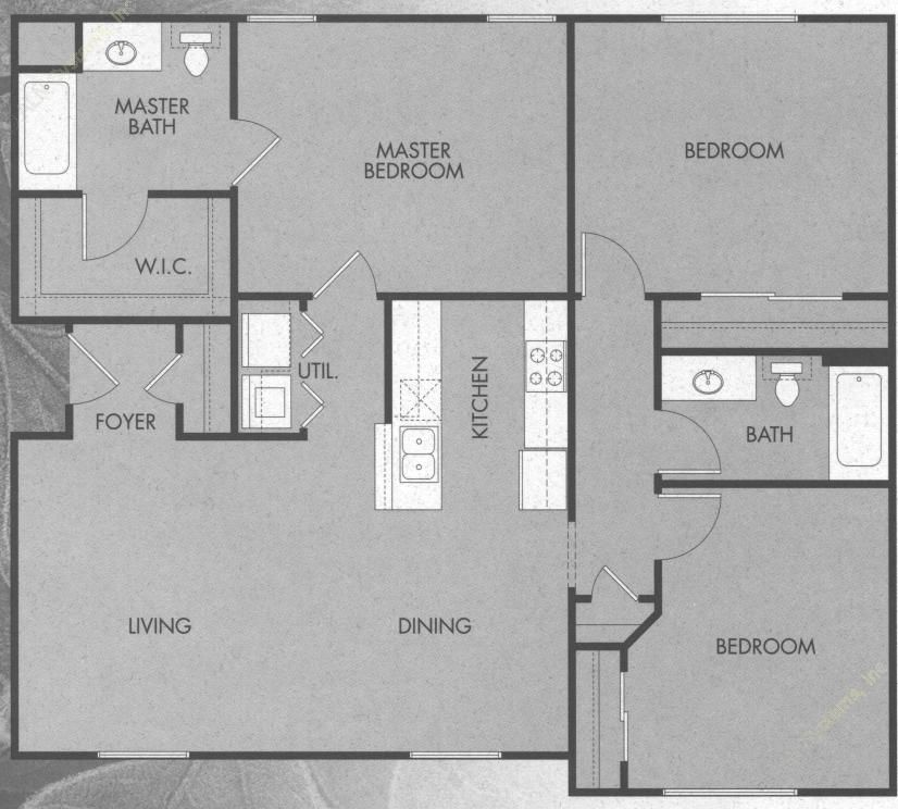 1,304 sq. ft. C1/50% floor plan