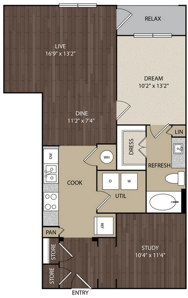929 sq. ft. A7 floor plan