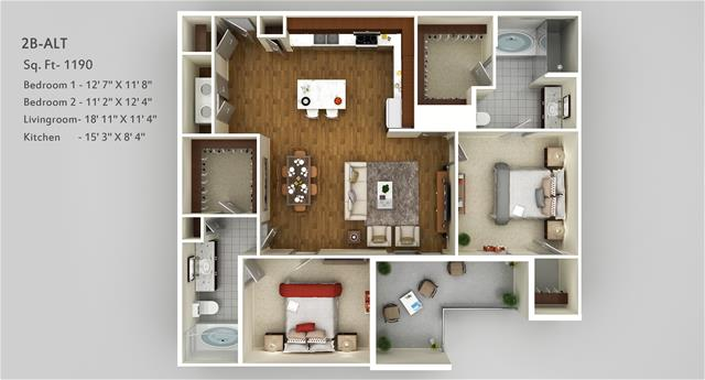 1,190 sq. ft. 2B Alt floor plan