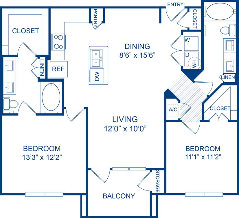 1,097 sq. ft. Puffballs floor plan