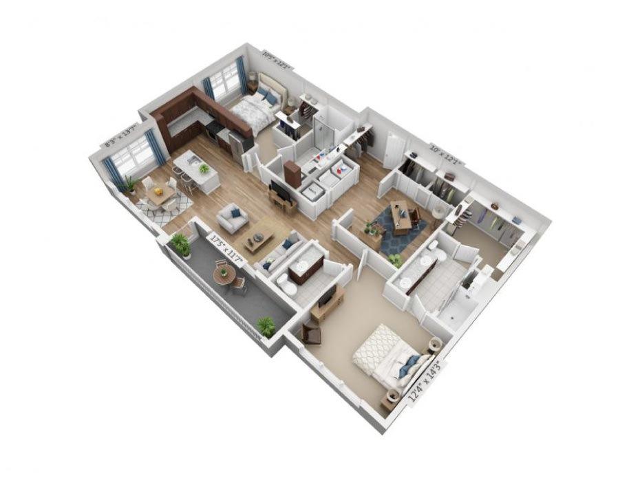 1,425 sq. ft. B7 floor plan
