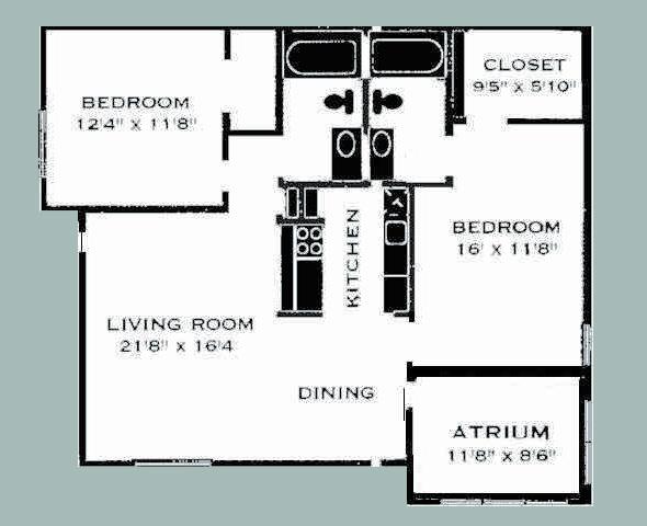 992 sq. ft. 2A/COPPERSIDE floor plan