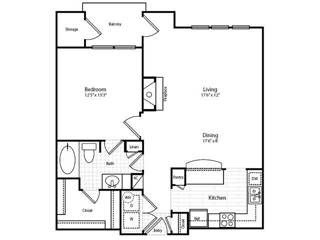 869 sq. ft. A31G-1 floor plan