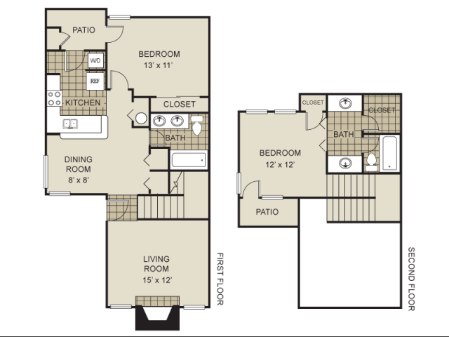 1,000 sq. ft. B4-B floor plan