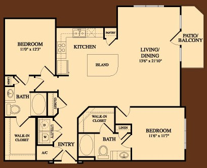 1,254 sq. ft. Mount Bonnell floor plan